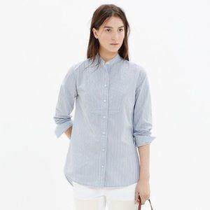 Madewell Collarless Bib Stripe Button Shirt Size S